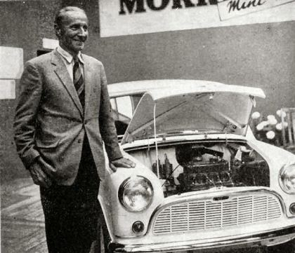 Alec Issigonis next to 'his' Mini during the launch in1959.